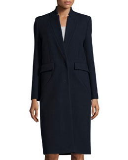 Axter Long Wool-Blend Coat, Navy