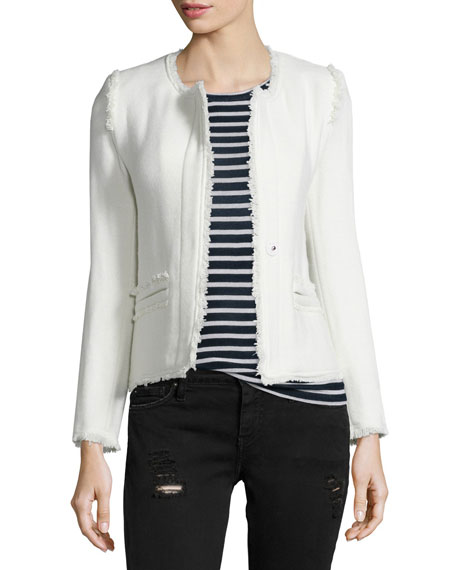 Anglet Wool-Blend Jacket, Ecru