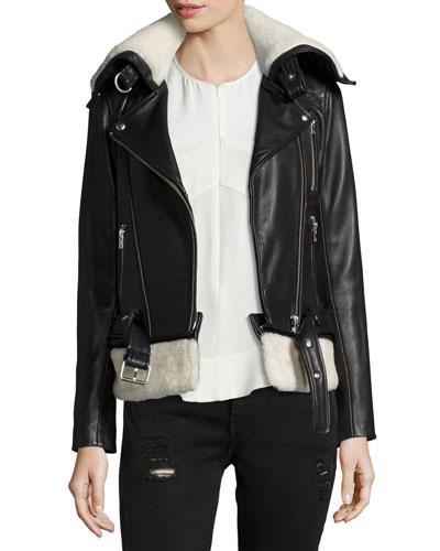 Kolia Leather Jacket with Shearling Fur, Black/White