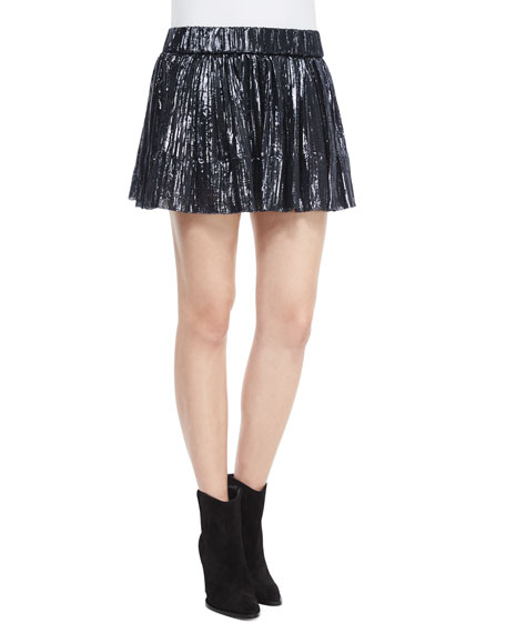 IRO Arny Pleated Metallic Mini Skirt, Navy