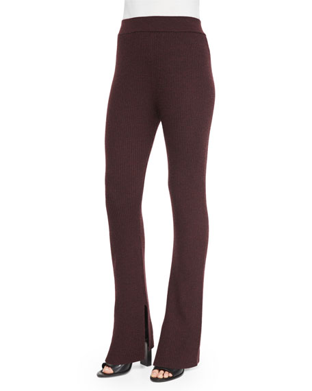 IRO Shipp Ribbed Knit Flare Pants, Burgundy