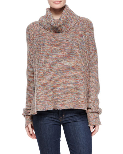 Space-Dye Long-Sleeve Sweater, Mixed Desert