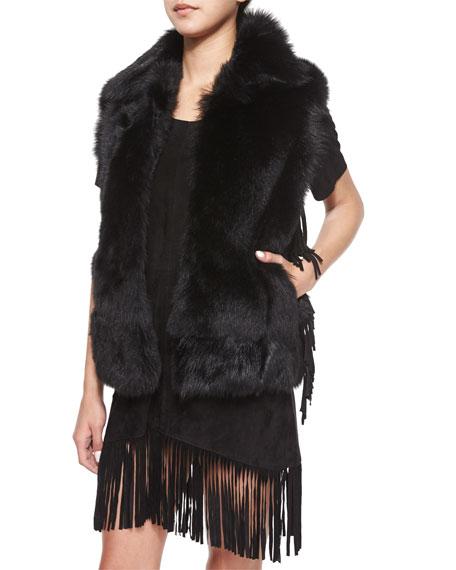 RtA Denim Janis Open-Front Fur Vest, Outkast