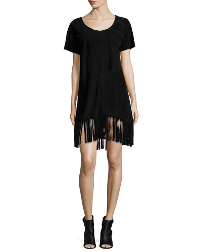 Short-Sleeve Fringe Dress, Black Suede