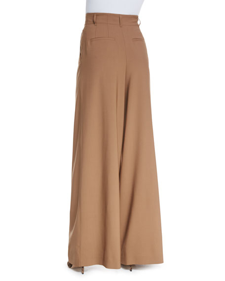 High-Waist Pleated Wide-Leg Trousers, Camel