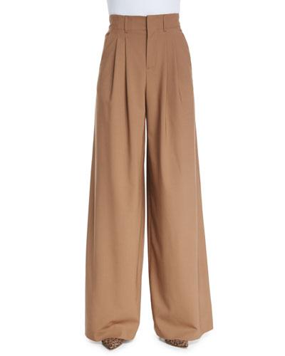 High-Waist Pleated Wide-Leg Trousers, Camel