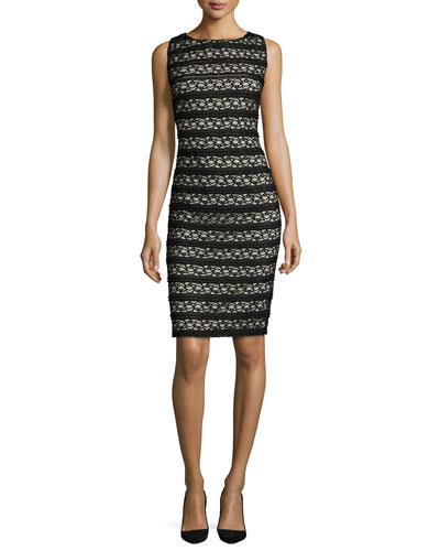 Sleeveless Open-Back Lace Sheath Dress, Black