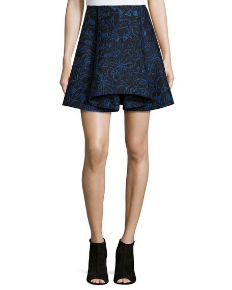 Opening Ceremony Scribbles Jacquard Skirt, Blue Multi