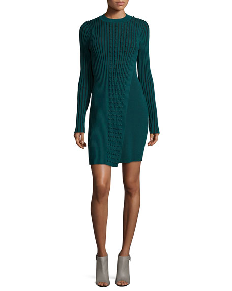 Opening Ceremony Long-Sleeve Ribbed Faux-Wrap Sweaterdress, Fern Green