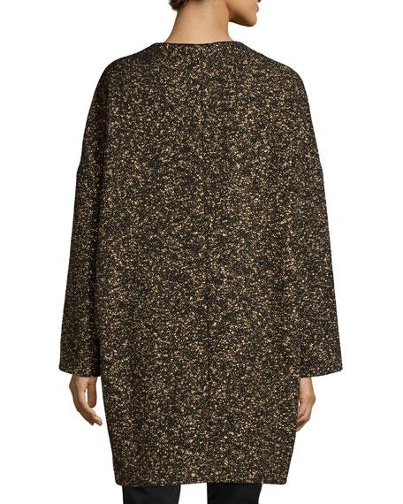 Lorraine Metallic Long Coat, Black Multi