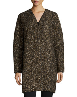 Lorraine Metallic Long Coat, Black Multi