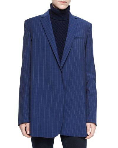 Kadley Striped Oversized Wool Blazer, Navy