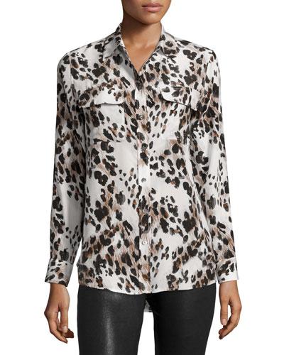 Slim Signature Long-Sleeve Shirt, Ecru Multi