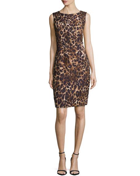 Lafayette 148 New York Abella Leopard-Print Dress, Black