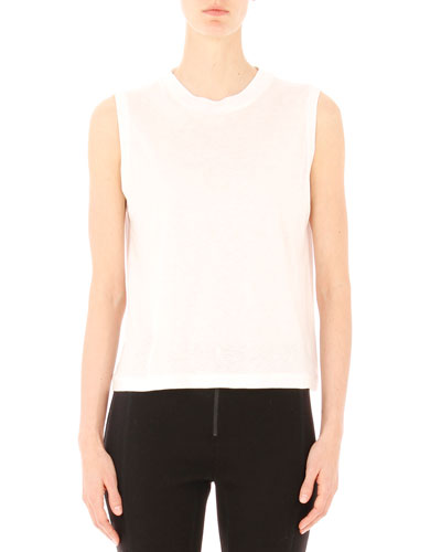 High-Neck Jersey Tank, White