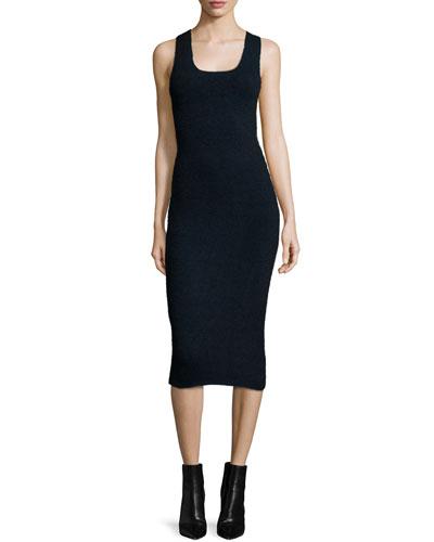 Sleeveless Ribbed Midi Dress, Midnight