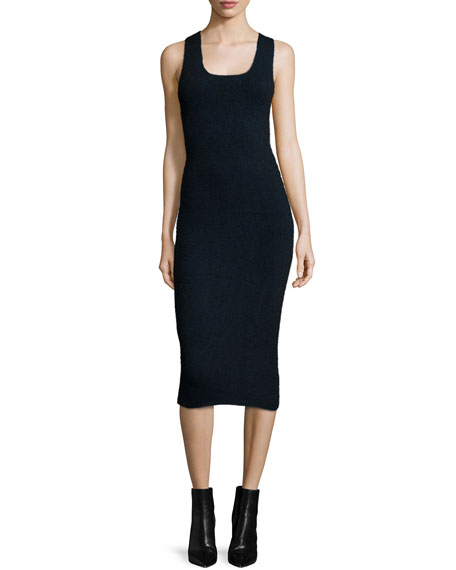 T by Alexander Wang Sleeveless Ribbed Midi Dress,
