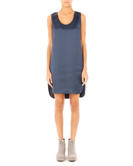 T by Alexander Wang Satin Football Tank Dress, Midnight