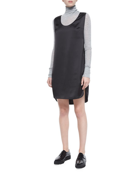 T by Alexander Wang Satin Sleeveless Tank Dress, Black