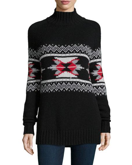 Autumn Cashmere Fair Isle Mock-Neck Cashmere-Blend Sweater ...