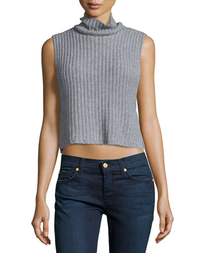 Mock-Neck Cashmere-Blend Ribbed Crop Tank, Nickel