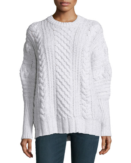 Autumn Cashmere Cable-Knit Cashmere Crewneck Sweater