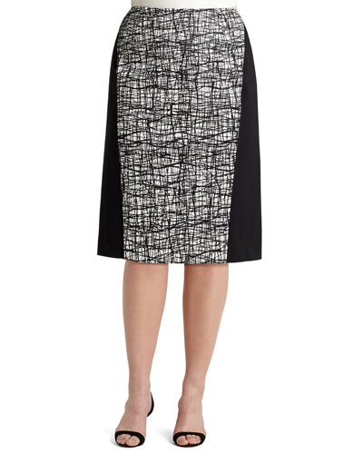 Ariella Printed-Panel Skirt, Women's