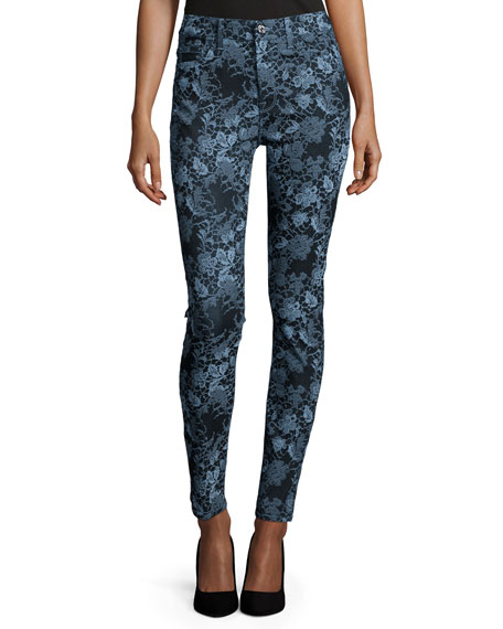 7 For All Mankind The High-Waist Skinny Jeans, Blue Floral