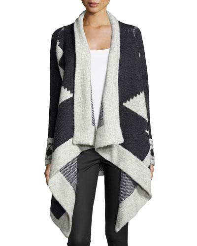 Montana Draped Geometric Sweater. Avalanche/Charcoal