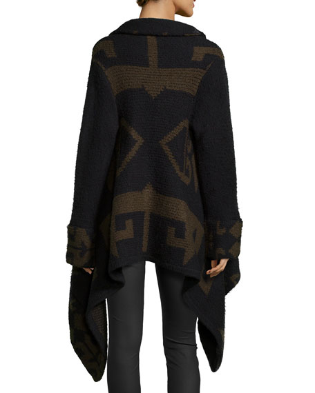 Marlboro Geometric-Knit Draped Sweater, Army/Caviar