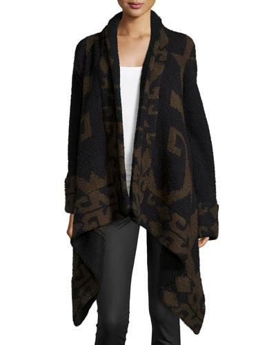 Marlboro Geometric-Knit Draped Sweater, Army/Caviar