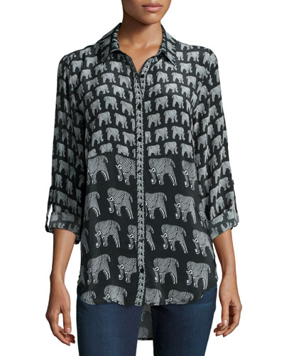 Evelyn Elephant-Print Silk Tunic, Women