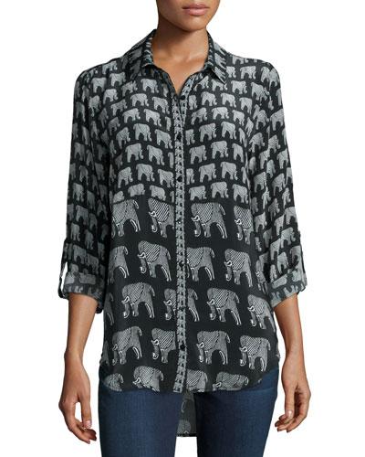 Evelyn Elephant-Print Silk Tunic