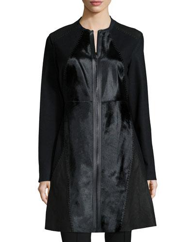 Dawson Leather & Calf-Hair Mid-Length Coat