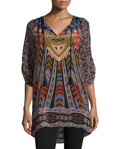 Nima Silk Printed Long Tunic, Women