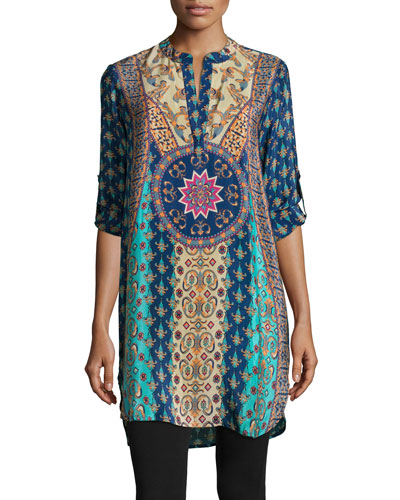 Lisa Printed Tunic/Dress, Navy