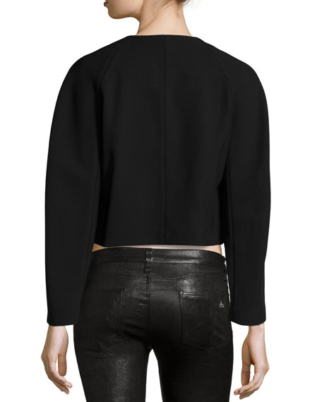 Double-Breasted Cropped Jacket, Black