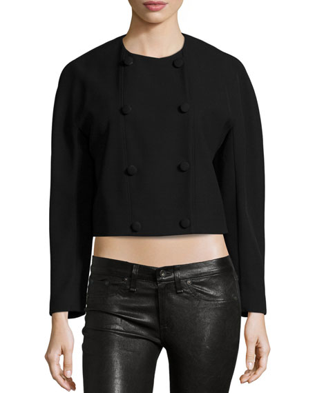 Proenza Schouler Double-Breasted Cropped Jacket, Black