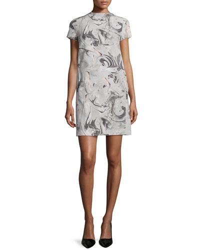 Jasneah Printed Short-Sleeve Dress