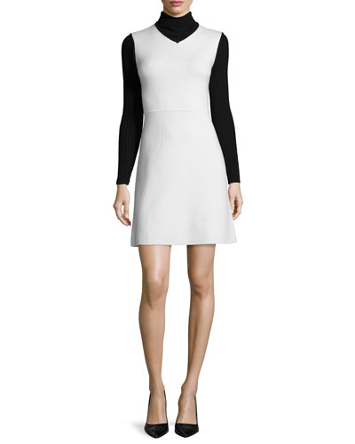 Myrelle Evian Turtleneck Dress, Ivory Ice/Black