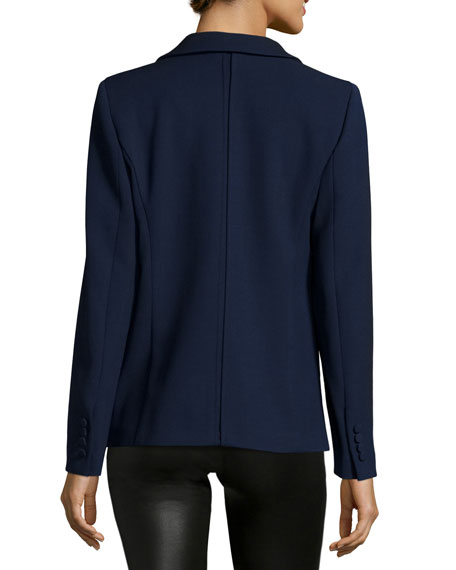 One-Button Fitted Blazer, Navy