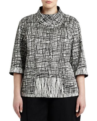 Darian 3/4-Sleeve Printed Topper Jacket, Women