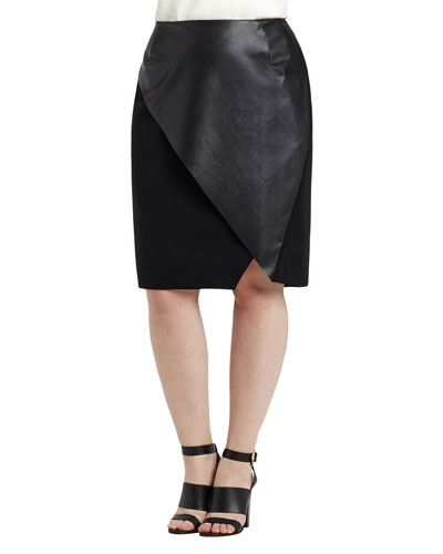 Nori Faux-Wrap Faux-Leather Pencil Skirt, Women's