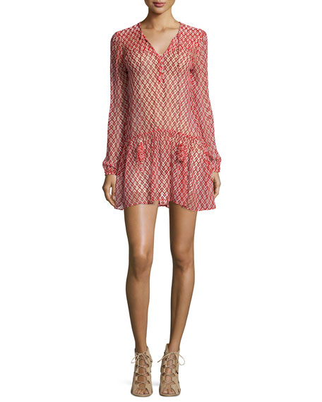 Christophe Sauvat Long-Sleeve Tassel-Neck Mini Dress, Red