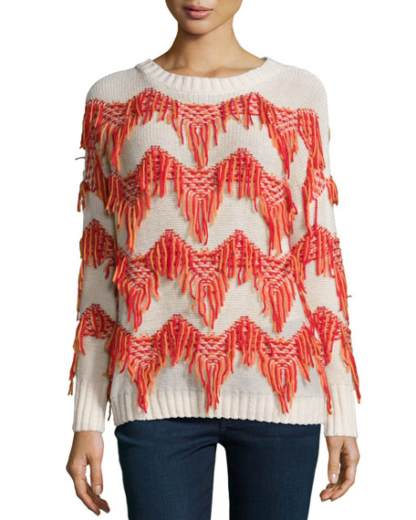 Christophe Sauvat Tippi Sweater W/Fringe, Off White/Mandarin