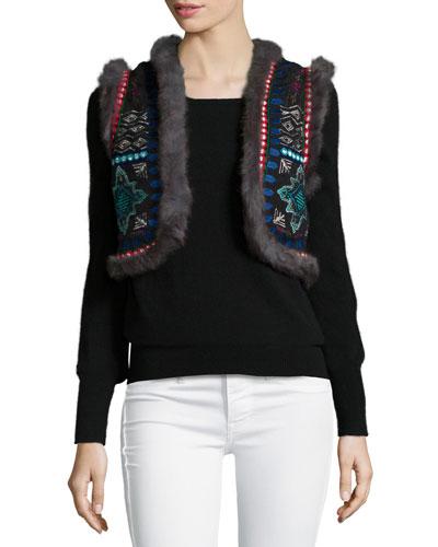 Chamber Embroidered Fur-Trim Vest, Black