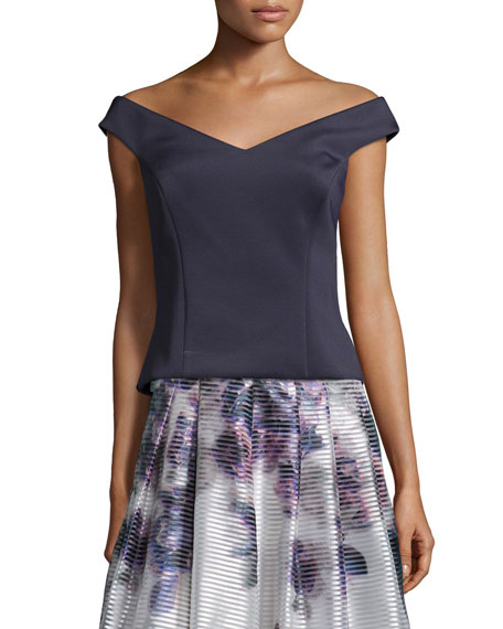 Kay Unger New YorkOff-The-Shoulder Structured Top, Midnight