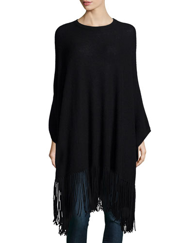 Cashmere Long-Sleeve Poncho W/Fringe, Black