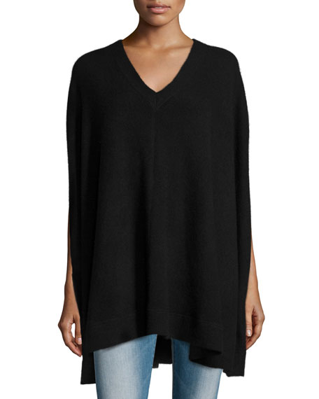360Sweater Cashmere V-Neck Poncho, Black