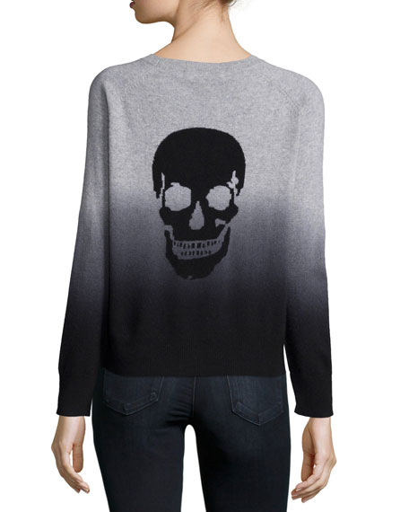 Cashmere Skull Ombre Sweater, Heather Gray